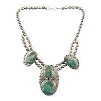 BEAUTIFUL Navajo Tim Guerro Native American Sterling Silver Green Turquoise Squash Pendant Necklace