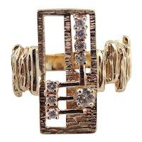Designer Signed JFK 14K Yellow Gold Diamond Modernist Ring Size 7.5