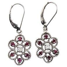 14K White Gold Diamond & Ruby Halo Dangle Earrings