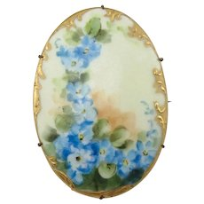 Large Victorian Painted Porcelain Blue Flowers Brass Pin Brooch