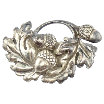Vintage Signed Viking Craft Sterling Silver Acorns Pin Brooch