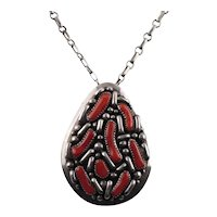 Navajo Ted Nez Native American Sterling Silver Mediterranean Red Coral Pendant Necklace