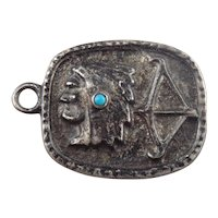 Old Pawn Native American Sterling Silver Turquoise Dog Tag Pendant