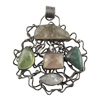 Large Modernist Sterling Silver Multi Stone Pendant