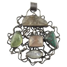 Large Modernist Sterling Silver Multi Stone Pendant