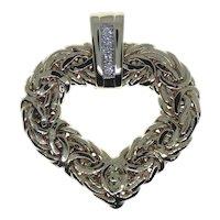 14K Yellow Gold Atasay Kuyumculuk Diamond & Byzantine Heart Pendant