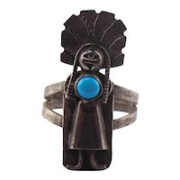 Old Pawn Native American Sterling Silver Turquoise Kachina Ring Size 7