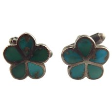 Native American Sterling Silver Turquoise Flower Design Cufflinks