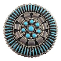 Hand Signed Yazzie Native American Sterling Silver Needle Point & Petite Point Pendant & Pin