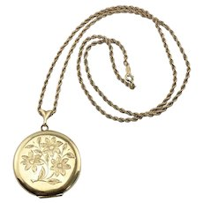 Large Vintage Gold Filled Etched Flowers LOCKET Pendant Necklace