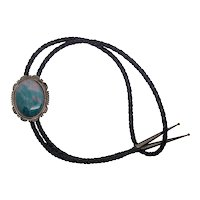 Herman T Nez Native American Sterling Silver Bloodstone Bolo Tie Necklace