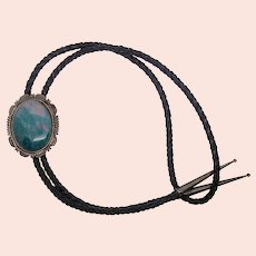 Herman T Nez Native American Sterling Silver Bloodstone Bolo Tie Necklace