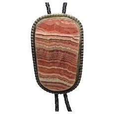 Huge Native American Sterling Silver Rhodochrosite Bolo Tie Necklace
