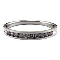 14K White Gold Diamond Band Ring Size 9