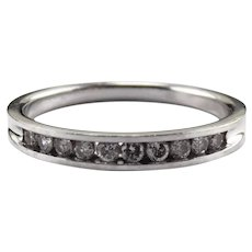 14K White Gold Diamond Band Ring Size 9