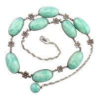 Art Deco Sterling Silver Green Peking Glass Flower Necklace