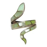 Sterling Silver Inlaid Mother of Pearl Snake Ring Size 8.5