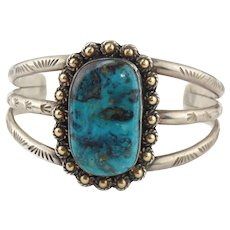 Amazing Native American Sterling Silver & 14K Ball Beads Turquoise Cuff Bracelet