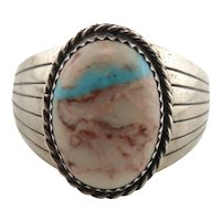 Large Size Native American Sterling Silver Ribbon Turquoise Ring Size 13 1/4