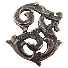 Rare Cini Sterling Silver Cursive Letter F Pin Brooch