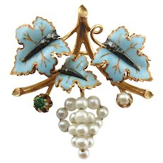 Portuguese 800 Gold 19.2 Carat Gold Blue Enamel Leave Cultured Pearl Pin Brooch
