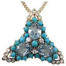 Amazing Custom 14K Yellow Gold Blue Topaz, Turquoise & Diamond Pendant Necklace