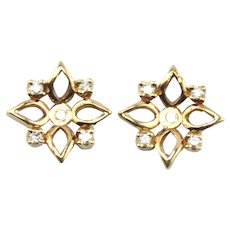 14K Yellow Gold 0.08 CTW Diamond Halo Earring Jackets