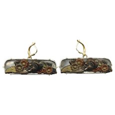 Tone Japanese Demon Face with 14K Yellow Gold Frame & Earring Hooks