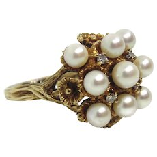 14K Yellow Gold 4-5mm White Cultured Pearls & Diamond Ring Size 9
