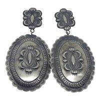 Very Large & Long Sheila Tso Native American Sterling Silver Concho Earrings