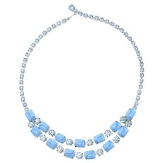 Vintage Retro Blue Art Glass & Rhinestone Silver Tone Necklace