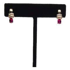 14K Yellow Gold Diamond & Ruby Earrings