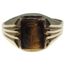 10K Yellow Gold Tiger's Eye Cameo Roman Soldier Ring Size 6.5