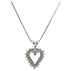 10K White Gold Diamond Heart Pendant Necklace