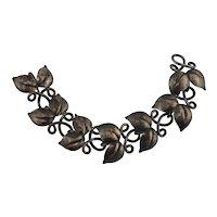 """Sweden Haglund Studio Sterling Silver Double Leaf Link Bracelet 6 3/4"""""""