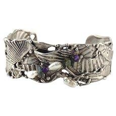 Mary Elwyn Sterling Silver Tourmaline & Cultured Pearl Shell Cuff Bracelet