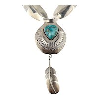 Bennie Ration Sterling Silver Feather Link Necklace with Removable Turquoise Pot & Feather Pendant