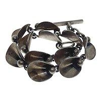Danish Niels Erik From Denmark Sterling Silver Modernist Link Toggle Bracelet