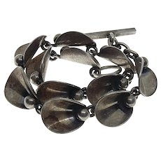 Danish Niels Erik From Denmark Sterling Silver Modernist Link Toggle Bracelet