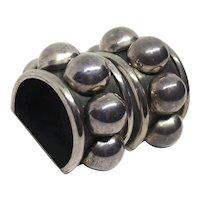 Huge Brenda Schoenfeld 1990 Modernist Mexico Sterling Silver Bubble Bead Clip On Earrings