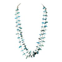 Santo Domingo Kewa Native American Turquoise Nugget & Shell Heishi Necklace  ***3 Strands***