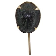 10K Gold Egyptian Scarab Beetle Stick Pin Lapel Pin