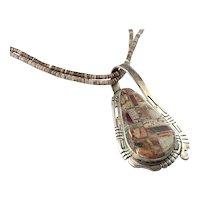 Gilbert Nelson Native American Sterling Silver Jasper Pendant Two Strand Heishi Necklace