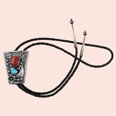 Large Native American Sterling Silver Coral & Turquoise Bolo Tie Necklace
