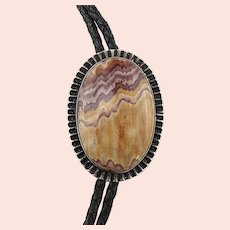Native American Sterling Silver Agate Bolo Tie Necklace
