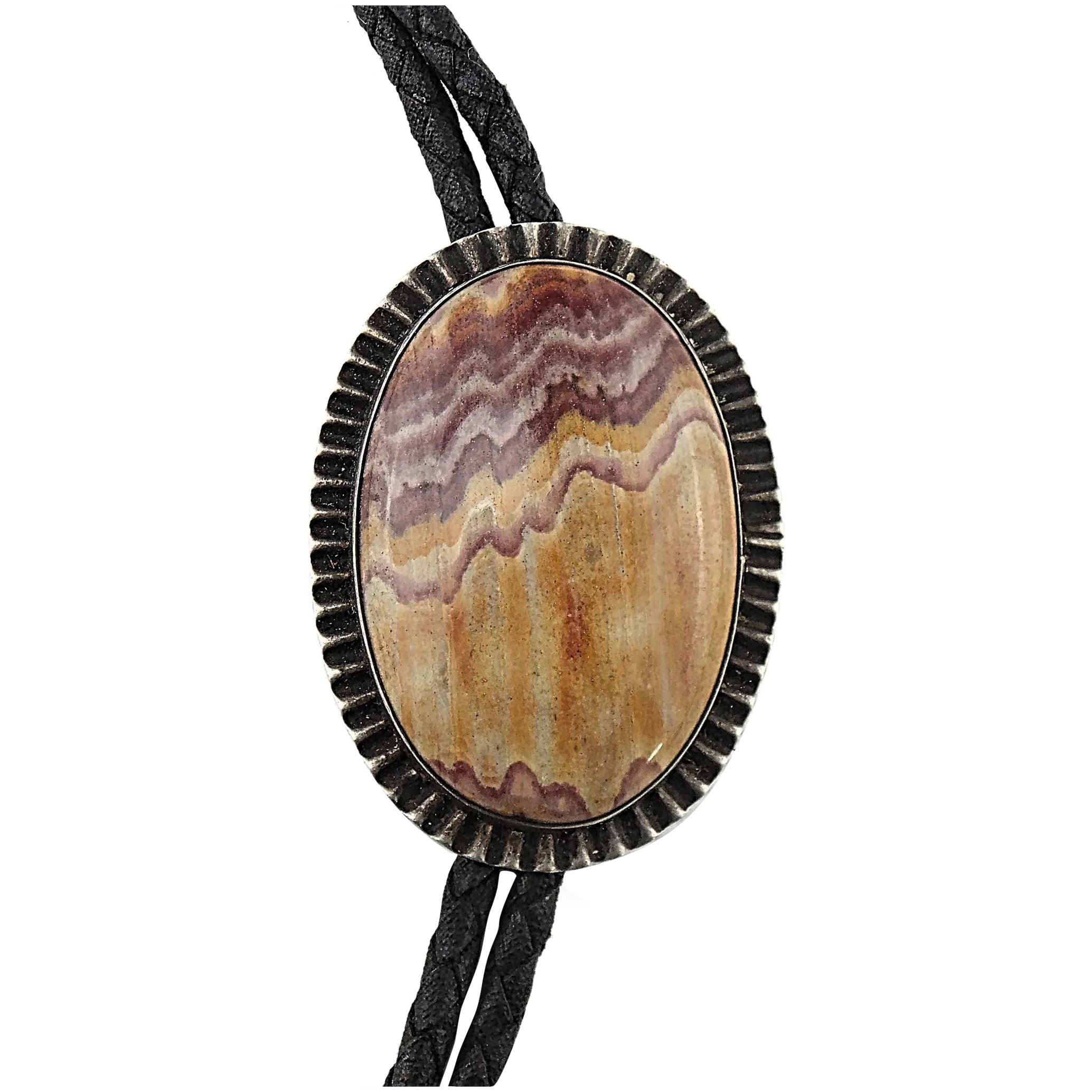 Bolo Tie 40/% Off! Sliced Agate with Metal Gun