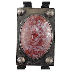 Artist Signed ESE Sterling Silver Red Spotted Blood Quartz Bolo Tie Necklace