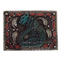 Spectacular Native American Sterling Silver Coral and Carved Turquoise Bear Belt Buckle