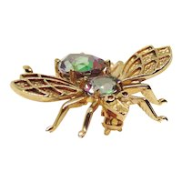 10K Yellow Gold 4 CTW Mystic Topaz Bumble Bee Bug Pin