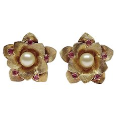 Large 14K Yellow Gold White Cultured Pearl & Pink Ruby Floral Clip On Earrings